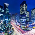Gangnam district in Seoul at night