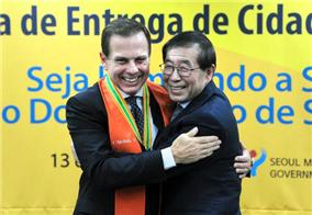 サンパウロのドリア市長、「ソウル市名誉市民」になる