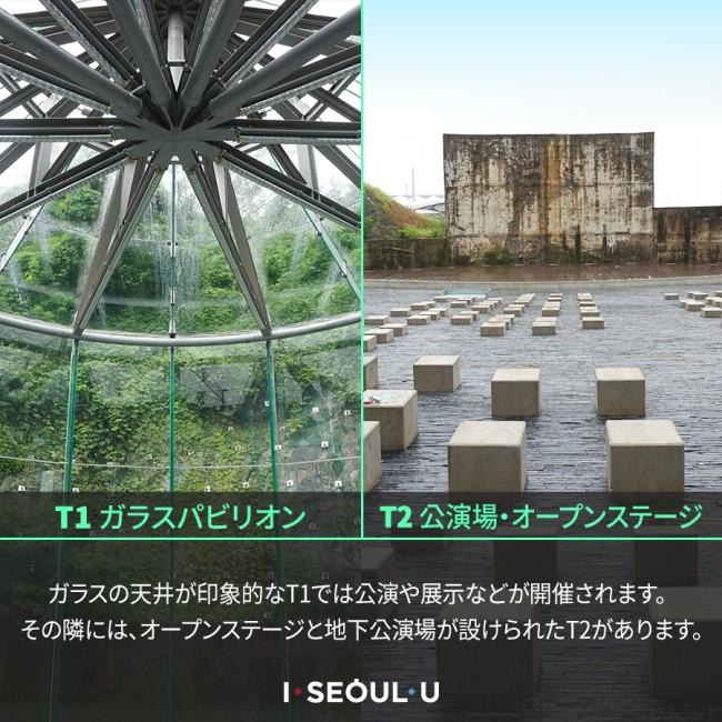 #7. T1 ガラスパビリオン / T2 公演場・オープンステージ ガラスの天井が印象的なT1では公演や展示などが開催されます。その隣には、オープンステージと地下公 演場が設けられたT2があります。
