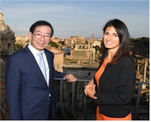 パク・ウォンスン(朴元淳)市長とローマ市長、政策協力のため手を携える