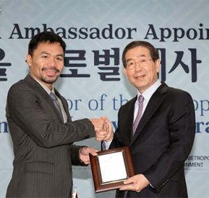 アジアのボクシング界の生ける伝説パッキャオ、「ソウルグローバル大使」に