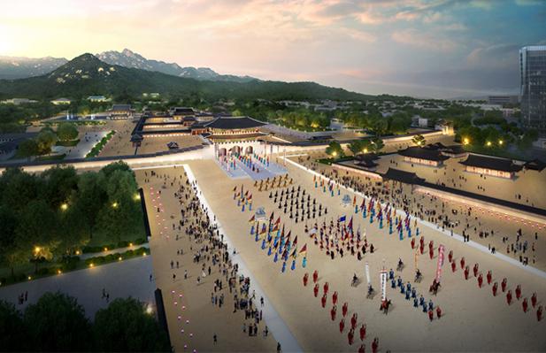 クァンファムン(光化門)広場の歴史性を回復するとともに3.7倍に拡張