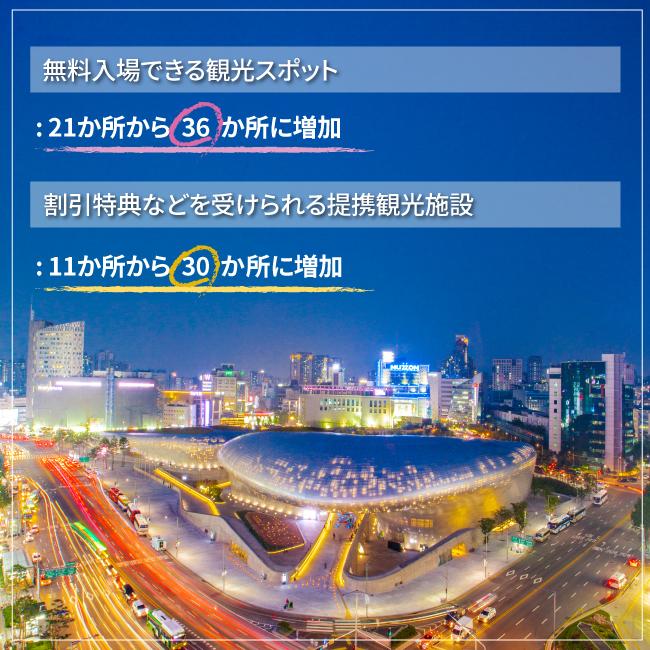 無料入場できる観光スポット: 21か所から 36 か所に増加,割引特典などを受けられる提携観光施設: 11か所から 30 か 所に増加