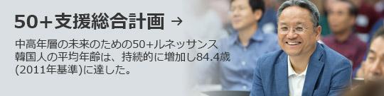 50+支援総合計画 → 中高年層の未来のための50+ルネッサンス 韓国人の平均年齢は、持続的に増加し84.4歳 (2011年基準)に達した。