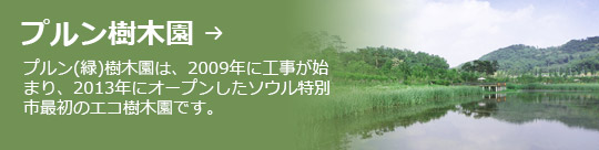 プルン樹木園 → プルン(緑)樹木園は、2009年に工事が始まり、2013年にオープンしたソウル特別市最初のエコ樹木園です。