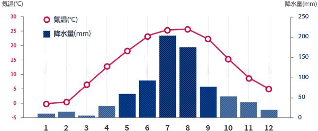 ソウルの月別平均気温と降水量