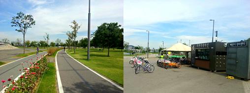 自転車に乗った風景 パンポ・ハンガン(盤浦漢江)公園