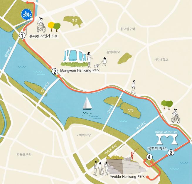 上岩 → 汝矣島漢江公園コース