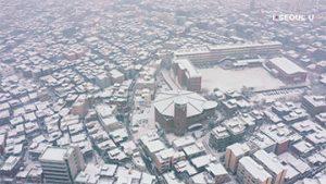 ソウル上空からの映像 - クムチョン区の雪景色