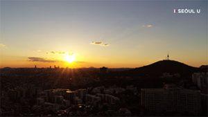 ソウル上空からの映像 - ソウルの夕日