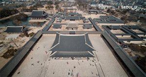 ソウル上空からの映像 – 景福宮(キョンボックン)