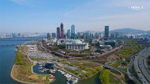 ソウルの上空からの映像 - ヨイド(汝矣島)春の花まつり