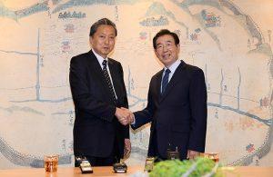 パク・ウォンスン(朴元淳)ソウル市長、日本の鳩山元首相と面談