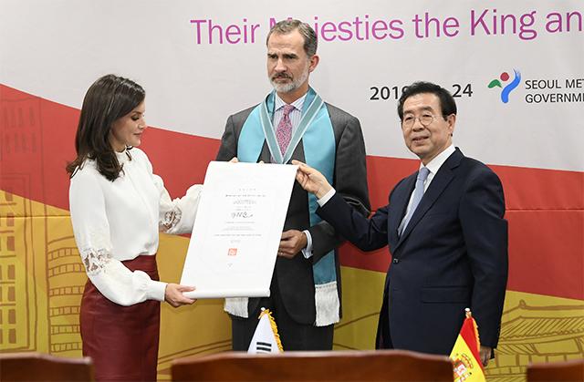 スペイン国王夫妻、「ソウル市名誉市民」に