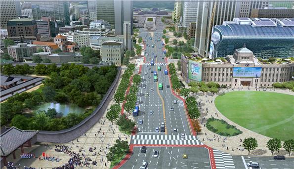 ソウル市、セジョンデロ(世宗大路)1.5kmを代表歩行通りへと構築