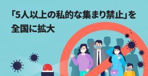 「5人以上の私的な集まり禁止」を全国に拡大するにあたっての指針