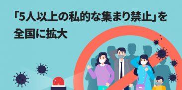 「5人以上の私的な集まり禁止」を全国に拡大